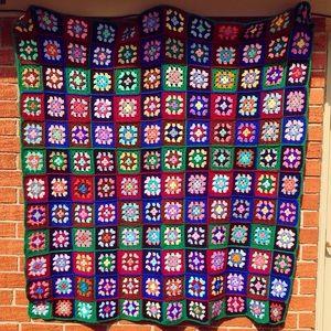 Vintage Granny Square Crochet Afghan Blanket 55x55
